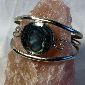 Vintage Mexican Abalone and Alpaca Silver Bracelet